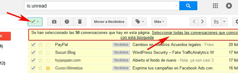 Seleccionar todos los emails no leidos en Gmail