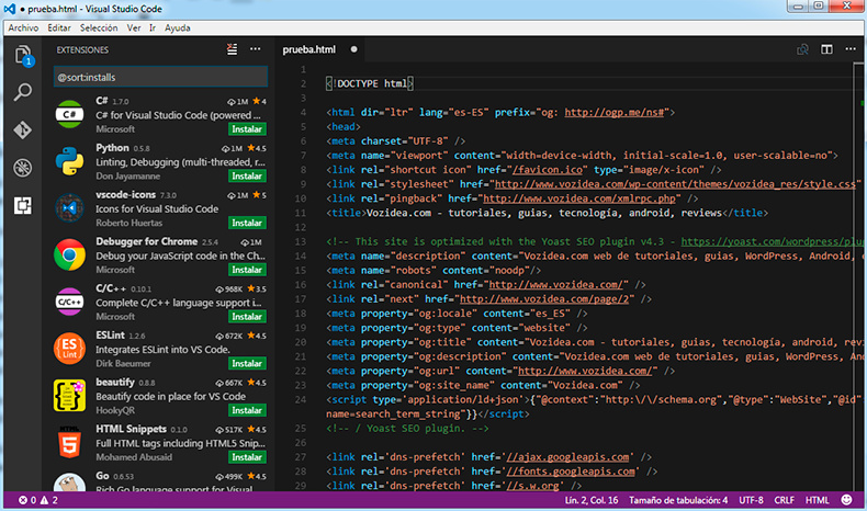 visual studio code interfaz