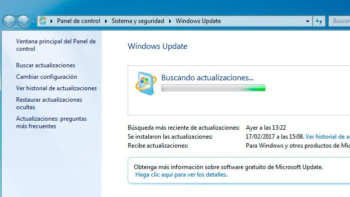 windows 7 buscando actualizaciones tarda mucho