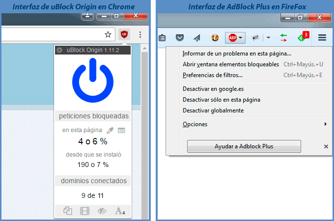 Interfaz de AdBlock Plus yuBlock Origin