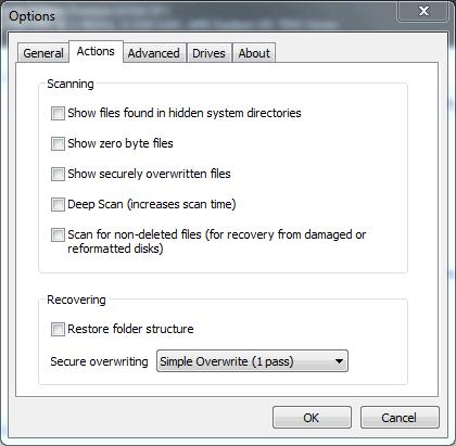 Recuva opciones deep scan o escaneo profundo