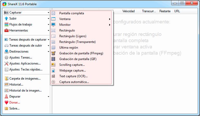 Opciones de captura de pantalla de ShareX