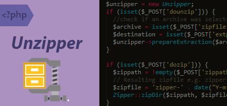 Unzipper, script PHP para comprimir y descomprimir ficheros zip, gz y rar