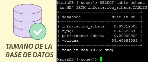 Comprobar el tamaño de una base de datos MySQL