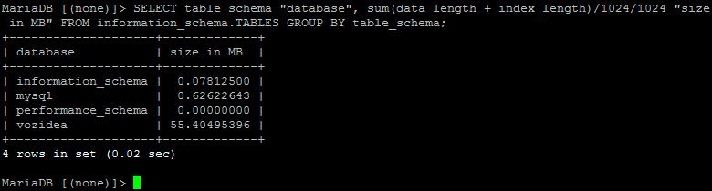 tamaño base de datos MySQL