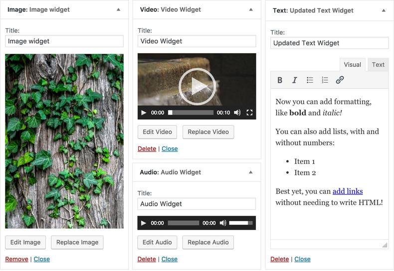 Wigets multimedia WordPress 4.8