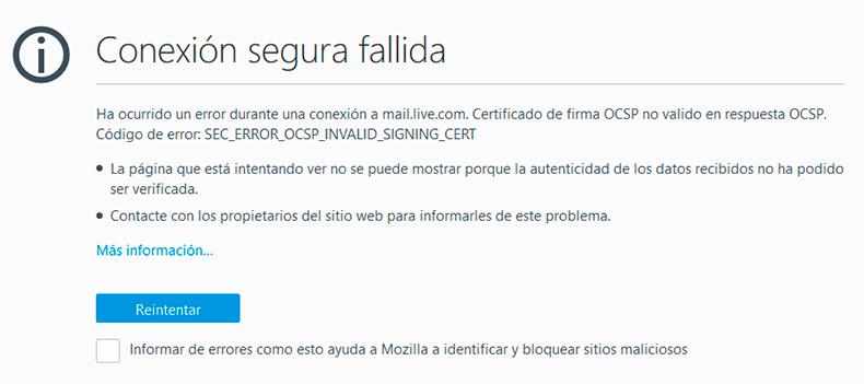 """Error de """"Conexión segura fallida"""" en FireFox"""