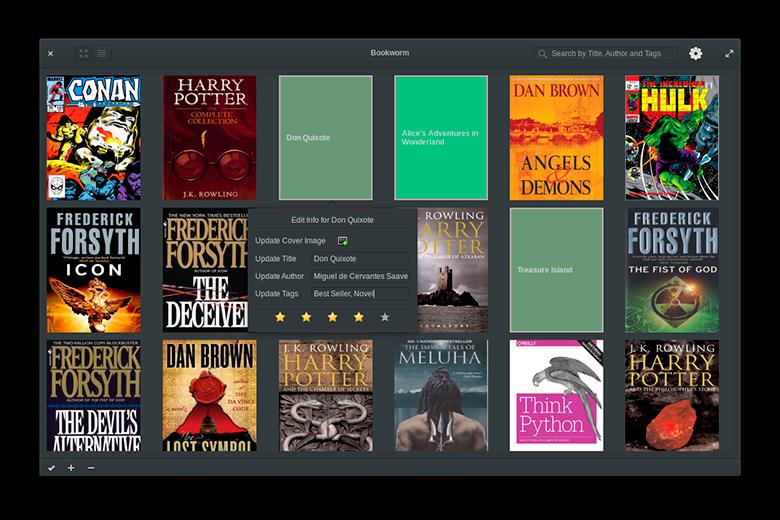 Bookworm interfaz modo oscuro