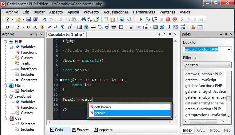 Codelobster, un IDE PHP potente y gratuito