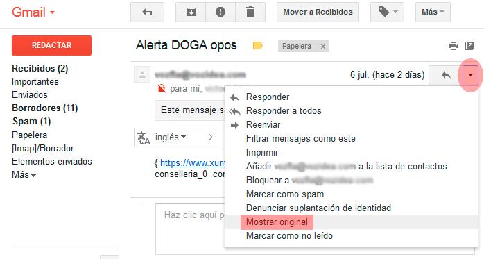 mostrar original gmail