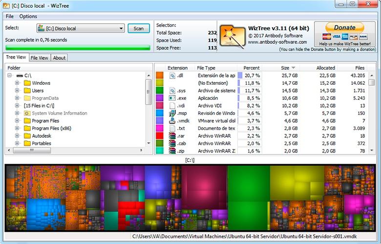 WizTree gráfico archivos