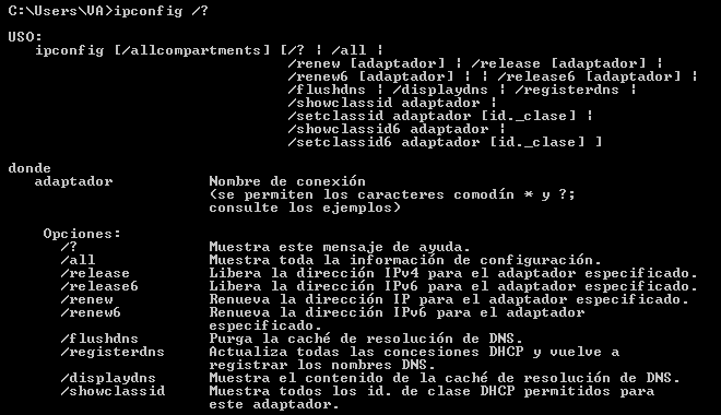 comando ipconfig windows ayuda