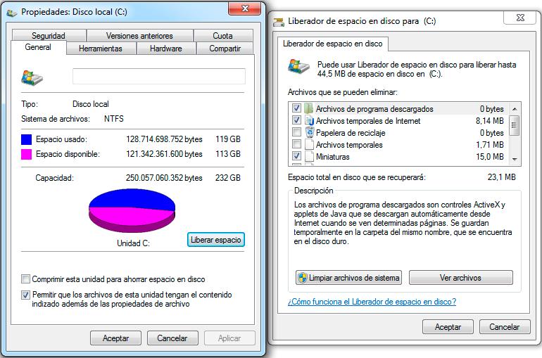 Liberador de espacio en disco de Windows