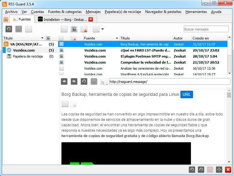 rss guard interfaz de usuario