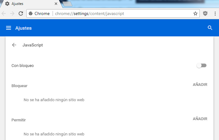 bloquear javascript en chrome