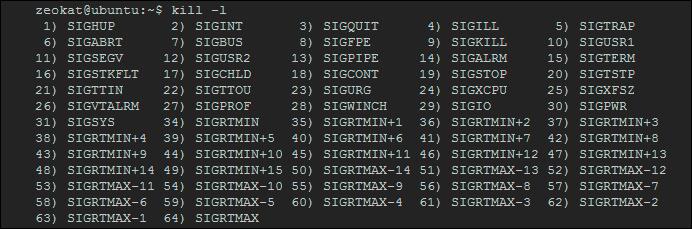 Señales del comando kill en Linux