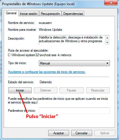 iniciar servicio windows update