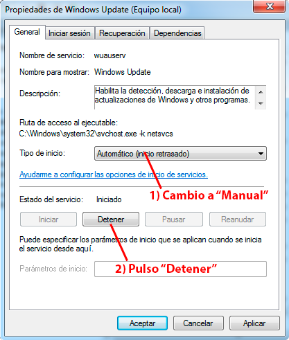 propiedades servicio windows update