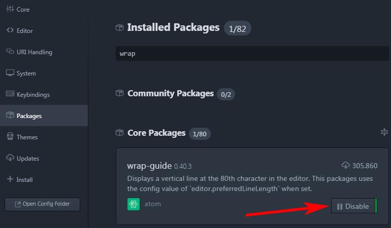 deshabilitar wrap-guide editor atom