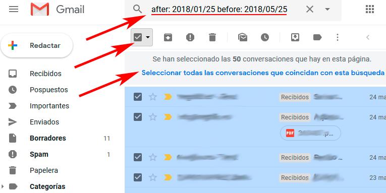 marcar mensajes por fecha gmail