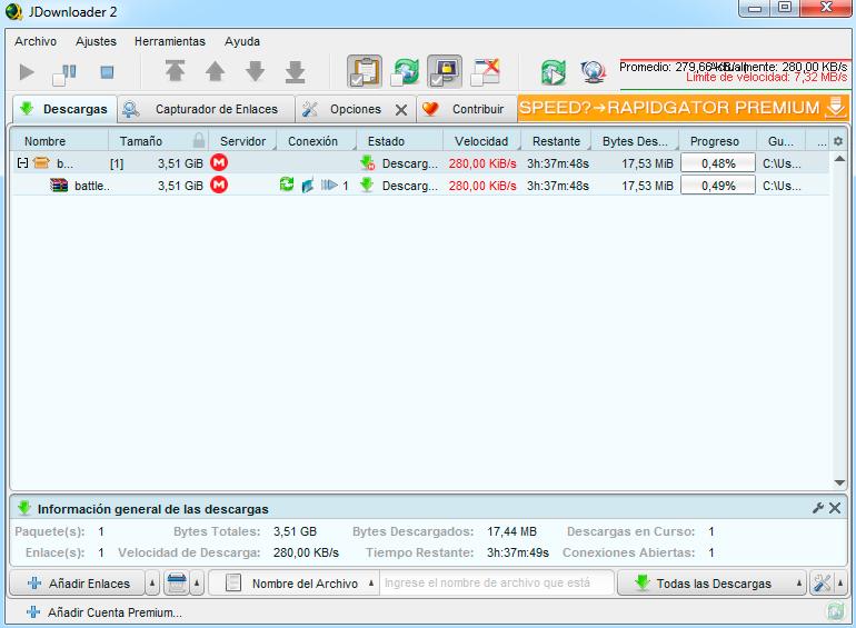 descargar archivos grandes de mega con jdownloader