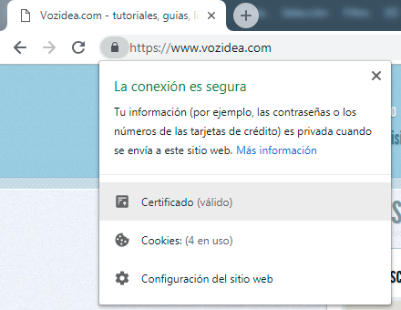 informacion certificado ssl chrome