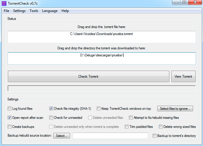 TorrentCheck interfaz
