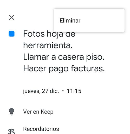eliminar recordatorio google calendar