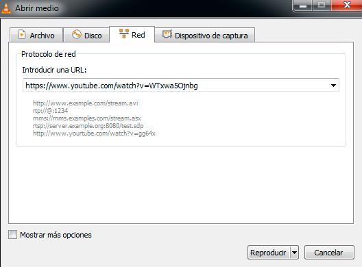 reproducir video de youtube con VLC