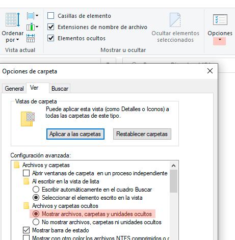 Mostrar archivos ocultos Windows 10