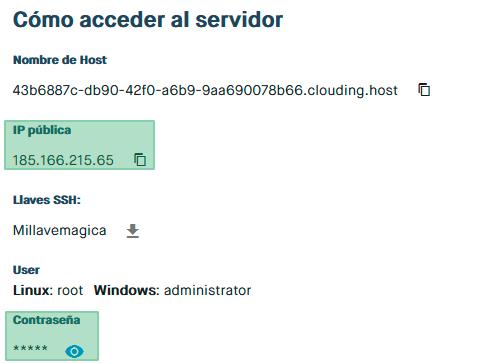 acceder a servidor clouding
